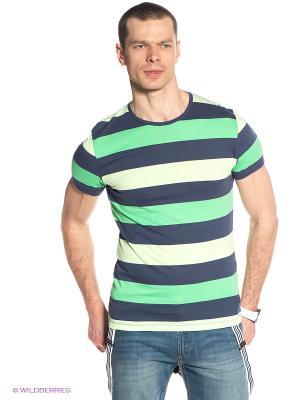 Футболка Oodji. Цвет: зеленый, темно-синий