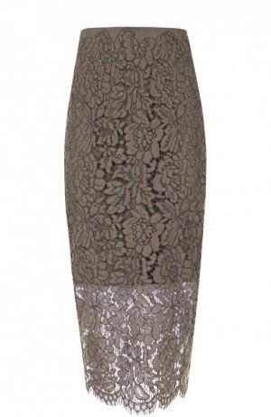 Кружевная юбка-карандаш Diane Von Furstenberg. Цвет: оливковый