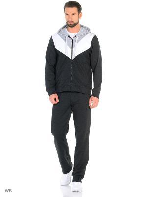 Спортивный костюм FORLIFE. Цвет: темно-серый, белый, светло-серый