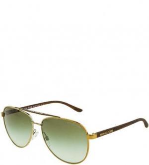 Солнцезащитные очки с золотистой металлической оправой Michael Kors. Цвет: золотистый