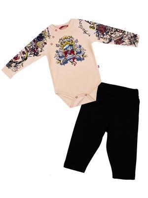 Боди для детей, брюки Апрель. Цвет: бежевый, черный