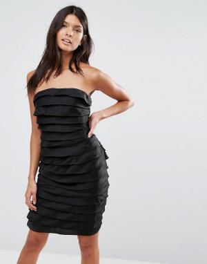 Pixie & Diamond Фактурное платье мини в стиле бандо. Цвет: черный