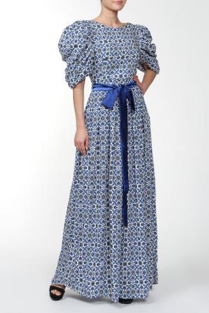Платье с поясом MODEL TIME. Цвет: синий
