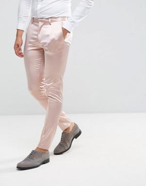 ASOS Светло-розовые строгие сатиновые брюки скинни Wedding. Цвет: розовый