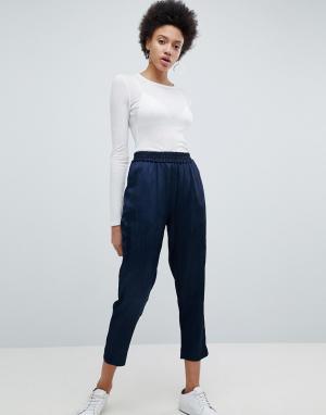 Selected Укороченные брюки Tailored. Цвет: темно-синий