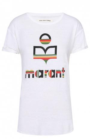 Льняная удлиненная футболка с контрастным принтом Isabel Marant Etoile. Цвет: белый