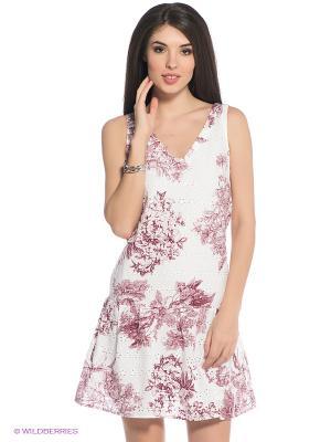 Платье Oodji. Цвет: белый, бордовый