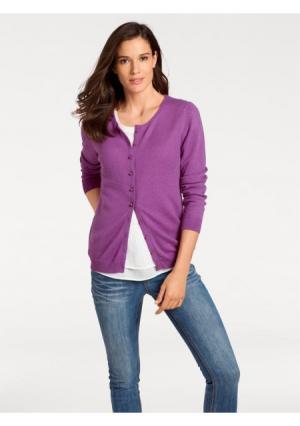 Кардиган PATRIZIA DINI by Heine. Цвет: лиловый, мандариновый, светло-коричневый, серо-коричневый, серый меланжевый, синий, цвет белой шерсти, цикламен