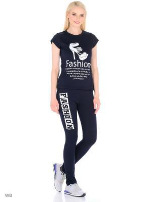Костюм женский (футболка,брюки) MARSOFINA. Цвет: темно-синий