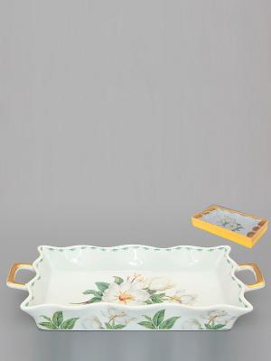 Хлебница Белый шиповник Elan Gallery. Цвет: белый, зеленый