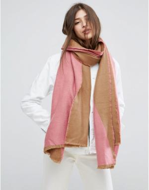 ASOS Длинный тканый шарф в стиле колор блок. Цвет: розовый