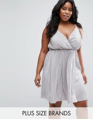 Club L Плиссированное платье цвета металлик Plus. Цвет: серый