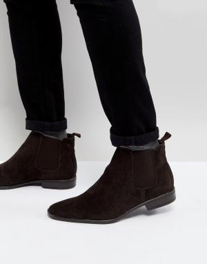 New Look Темно-коричневые ботинки челси из искусственной замши. Цвет: коричневый