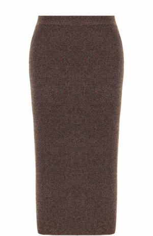 Юбка-карандаш с металлизированным волокном By Malene Birger. Цвет: коричневый