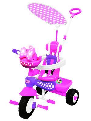 Велосипед 3-колесный Минни Маус с ручкой Kiddieland. Цвет: фиолетовый, розовый, белый
