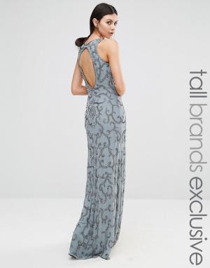 Maya Tall Платье макси с пайетками и вырезом на спинке. Цвет: серый