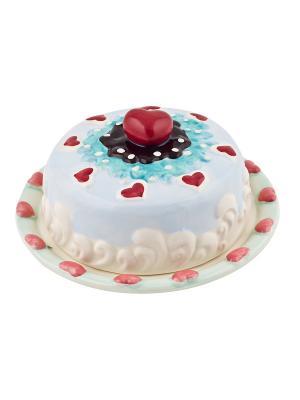 Подставка для торта с крышкой Biscuits Elff Ceramics. Цвет: голубой