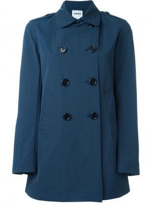 Короткое двубортное пальто Aspesi. Цвет: синий