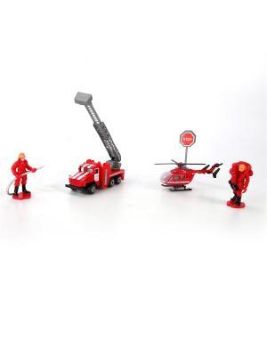 Набор пожарной техники металлический Машина Урал+вертолет+аксессуары. Технопарк. Цвет: красный, белый, серый