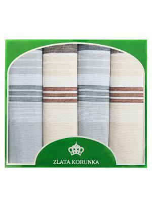 Платок носовой ZLATA KORUNKA. Цвет: бежевый, серо-голубой