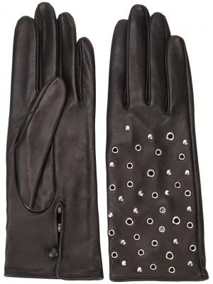 Перчатки с люверсами и заклепками Perrin Paris. Цвет: чёрный