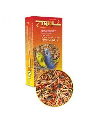 Корм для мелких и средних попугаев с мёдом TRIOL. Цвет: желтый