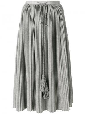 Плиссированная юбка с кисточками Veronique Branquinho. Цвет: серый