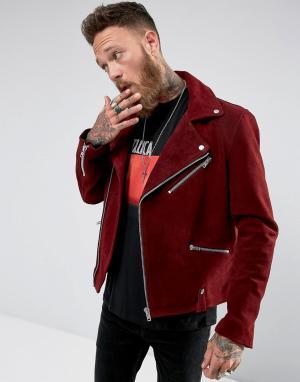 Black Dust Бордовая байкерская куртка. Цвет: красный
