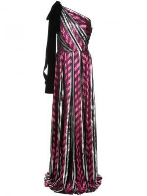Длинное платье на одно плечо Monique Lhuillier. Цвет: розовый и фиолетовый