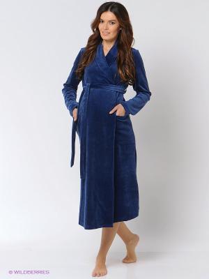 Халат для беременных и кормящих Hunny Mammy. Цвет: синий
