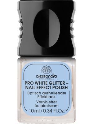 Отбеливающий лак для ногтей  сверкающий Pro white glitter alessandro. Цвет: серебристый
