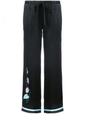 Пижамные брюки с вышивкой Morgan Lane. Цвет: чёрный