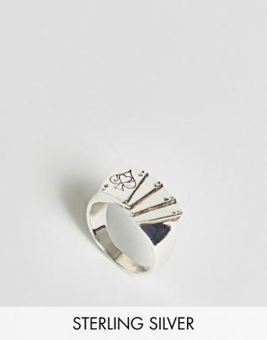 ASOS Серебряное кольцо с отделкой в форме игральной карты. Цвет: серебряный