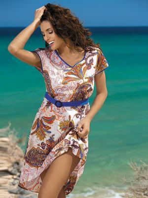 Платье Mia-Mia. Цвет: светло-бежевый, синий