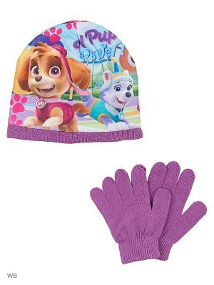 Комплект шапка и перчатки Sun City. Цвет: фиолетовый