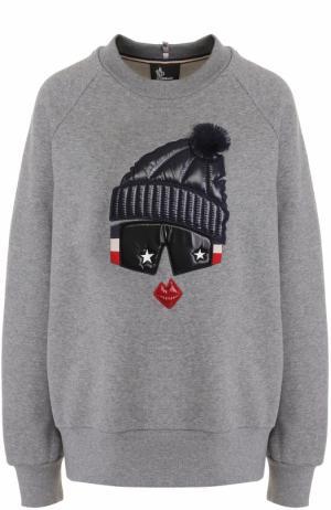 Хлопковый пуловер с круглым вырезом и декоративной отделкой Moncler. Цвет: серый