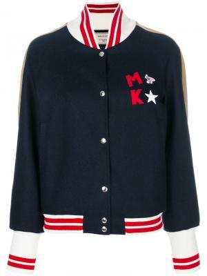 Куртка-бомбер с нашивкой логотипа Maison Kitsuné. Цвет: синий
