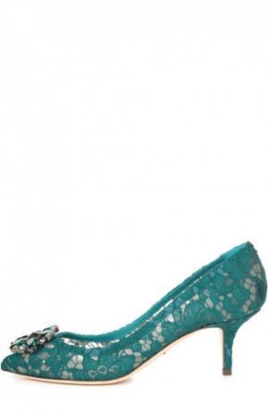 Кружевные туфли Rainbow Lace с брошью Dolce & Gabbana. Цвет: морской волны