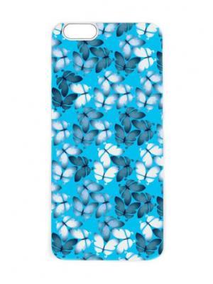 Чехол для iPhone 6 Мотыльки на голубом Chocopony. Цвет: голубой, белый, темно-синий