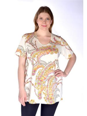 Блузка Pretty Woman. Цвет: светло-оранжевый,молочный