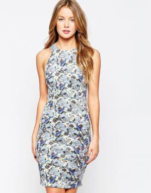 Closet London Облегающее платье миди с цветочным принтом. Цвет: мульти