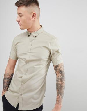 Only & Sons Облегающая рубашка с короткими рукавами. Цвет: бежевый
