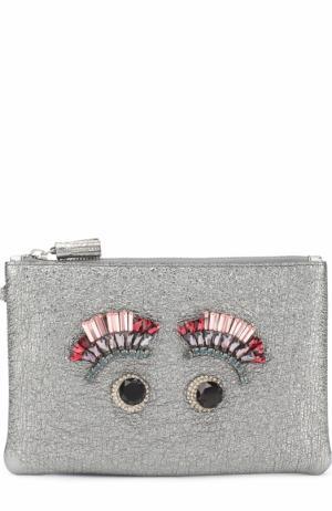 Клатч Diamante Eyes Anya Hindmarch. Цвет: серебряный