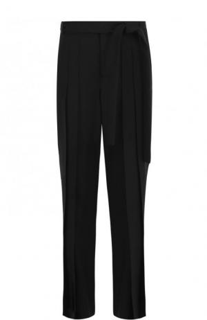 Однотонные широкие брюки из шерсти Saint Laurent. Цвет: черный