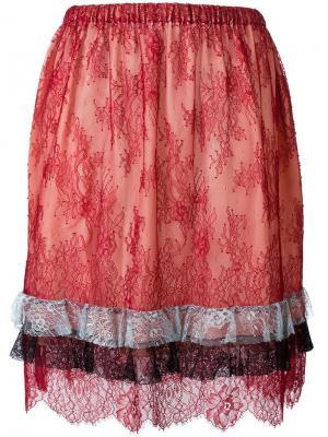 Кружевная юбка Philosophy Di Lorenzo Serafini. Цвет: красный