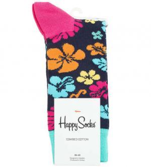 Носки из хлопка Happy Socks. Цвет: цветочный принт