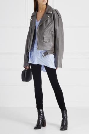 Кожаная куртка Ambush. Цвет: серый