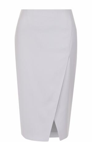 Шерстяная юбка-карандаш с разрезом Giorgio Armani. Цвет: светло-серый