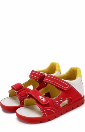 Комбинированные сандалии с застежками велькро и прострочкой Falcotto. Цвет: красный