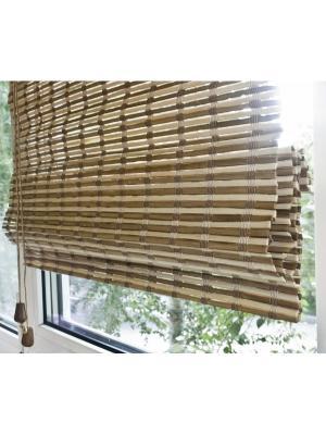 Бамбуковые римские шторы, микс, размер: 100х160 Эскар. Цвет: коричневый, бежевый